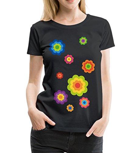 Spreadshirt Flower Power Blumen Siebziger Retro Frauen Premium T-Shirt, 3XL, Schwarz