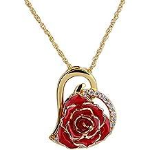 ZJchao 24K Gold Herz Rose Anhänger Halskette mit Strass, Fntastisches  Geschenk für Damen 9eb517e69d