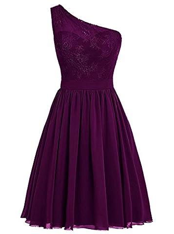 BetterGirl Chiffon eine Schulter Brautjunferkleider kurz mit Spitze Promkleider Abendkleid -Violett-42