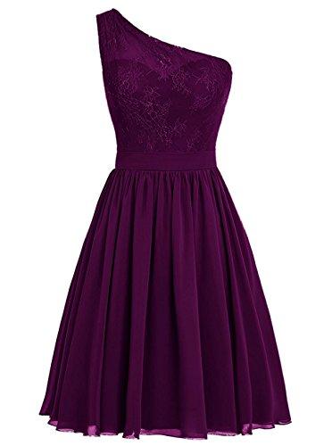 BetterGirl Chiffon eine Schulter Brautjunferkleider kurz mit Spitze Promkleider Abendkleid...