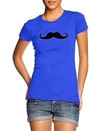 Womens Slim Fit Moustache T-Shirt All Colours & Sizes Funny Slogan