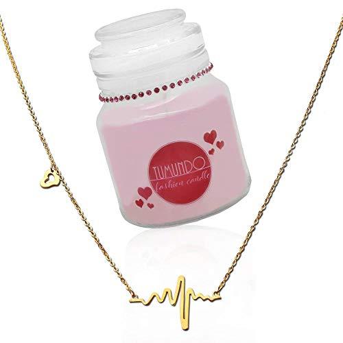 tumundo Fashion Candle Schmuck-Kerze Valentinstag Liebe Muttertag Geburtstag Duftkerze Halskette Herz-Schlag Frequenz, Farbe:golden