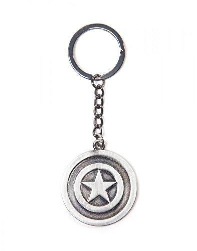 Bioworld Captain America Shield Logo Schlüsselanhänger Metall Ø4cm Länge 10,9cm