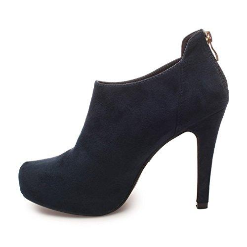 La Modeuse - Low bootssimili daim àtalon vertigineux et fin Bleu