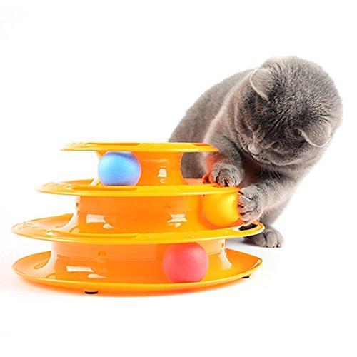 owikar Creative Pet Katzenspielzeug Tower von Musikstücken Katze Spielzeug Geplante Wartungsarbeiten Training Unterhaltungs-Teller Plattenspieler Pet Interessante Intelligenz Spiel Spielzeug mit farbigen Kugeln für mehrere Katzen (Große Kugeln Für Lkw)