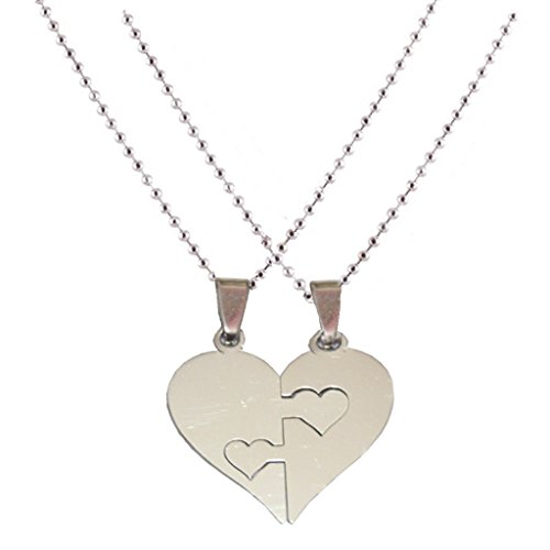 Shiv Jagdamba Couple his and her Plain Heart Shape Necklaces Silver Stainless Steel Heart Shape Pendent For Men And Women