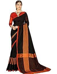Naari Vastram Women's Cotton Silk Black Striped Zari Saree With Blouse Piece (Black N-903)