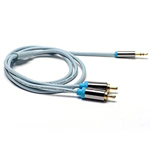 Reboot Aux 3.5 mm Male to 2RCA Male Adapter Stereo Audio Y Cable Splitter (3 Meters - 9.8 Feets, Blue)