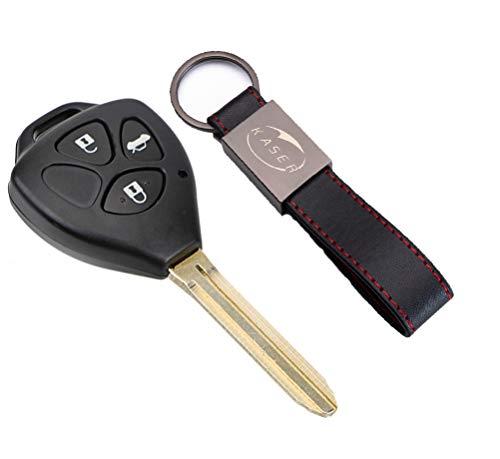 Carcasa Funda Llave Remoto Mando 3 Botones para Toyota Yaris Corolla Avensis Venza Rav4 Prado con Llavero de Cuero KASER