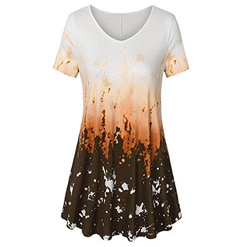 V-Ausschnitt Traditionelles Handwerk lässig Top Tunika Blusenshirt T-Shirt Einteiliger Rock Print Loose Mode Blusenkleid Strandkleid Sommerkleid (L, Orange) ()