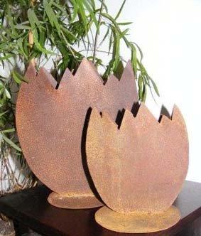 Edelrost Osterei zum beflanzen, Dekoration zu Ostern von Rostikal auf Du und dein Garten