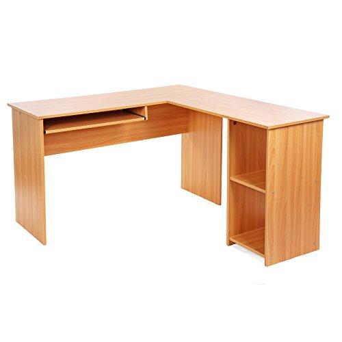 Songmics Computertisch Bürotisch Schreibtisch buchefarben PC Tisch Computerschreibtisch Große Desktop Design 3 Regale 140 x 120 x 75 cm LCD810R