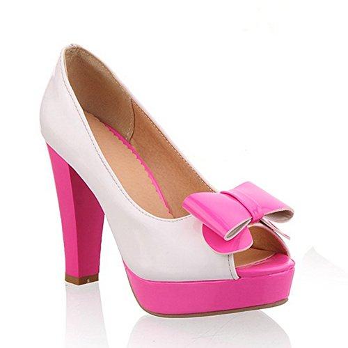 balamasa Damen Zehenöffnung schlupfslip sortiert Farben High-Heels pumps-shoes, Rot - rot - Größe: 35.5 -