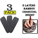 Babymoon Premium Bamboo 5 Layer Charcoal Wetfree Reusable Washable Cotton Diaper Nappy Inserts (Set of 3.)