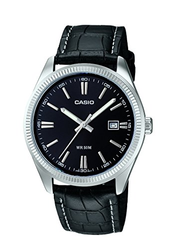 CASIO Collection - Reloj de caballero de cuarzo, correa de piel color negro
