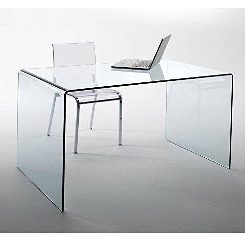 lounge-zone Design Glas Schreibtisch CHALET fromgebogenes Sicherheitsglas 120x60cm Home Office 13796
