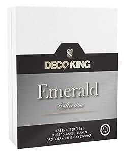 DecoKing 18644 Wasserbett Spannbettlaken 160 x 200 - 180 x  200 cm Jersey Baumwolle Spannbetttuch Emerald Collection, weiß