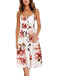 BMJL Women s Dresses V Neck Floral Print Strappy A Line Ladies Sleeveless  Cocktail Party Beach Summer a22d1f1b9