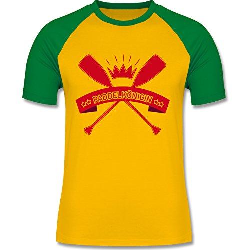 Wassersport - Paddelkönigin - zweifarbiges Baseballshirt für Männer Gelb/Grün