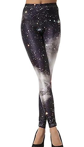 DELEY Femmes Leggings Imprimée Stretch Collants Sexy Slim Pantalon élastique en Fibre de Polyester - Taille Unique Galaxy