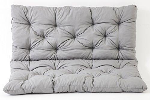 Ambientehome 2er Bank Sitzkissen und Rückenkissen Hanko, grau, ca 120 x 98 x 8 cm, Bankauflage, Polsterauflage