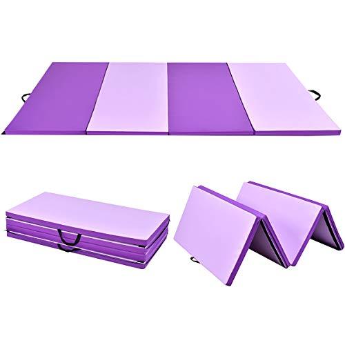 COSTWAY Weichbodenmatte klappbar, Gymnastikmatte tragbar, Yogamatte Turnmatte Klappmatte Fitnessmatte 240 x 120 x 5 cm (Lila)