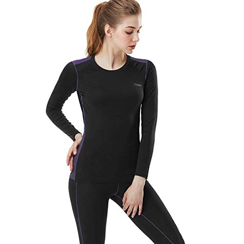 MEETYOO Thermounterwäsche Set Damen, Basic Langarmshirt Atmungsaktiv Skiunterwäsche Winter Funktionsunterhemd Sport Base Layer für Workout Skifahren Laufen Wandern