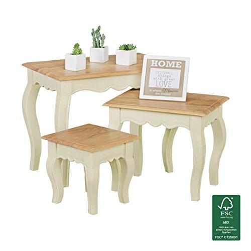 FineBuy Satztisch 3-teilig aus Massivholz Akazie/Mango weiß | Beistelltische im Landhaus-Stil | Echt-Holz Couchtisch Set Vintage | Wohnzimmer-Tisch kombinierbar Shabby Chic Möbel - Natur-Produkt
