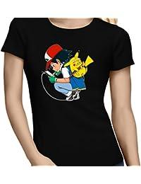 T-Shirt Jeux Vidéo - Parodie Pikachu de Pokémon - Plus de problème de batterie !! - T-shirt Femme Noir - Haute Qualité (882)