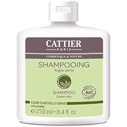 Cattier - Shampoo Cattier grasso argilla verde per i capelli, 250 ml