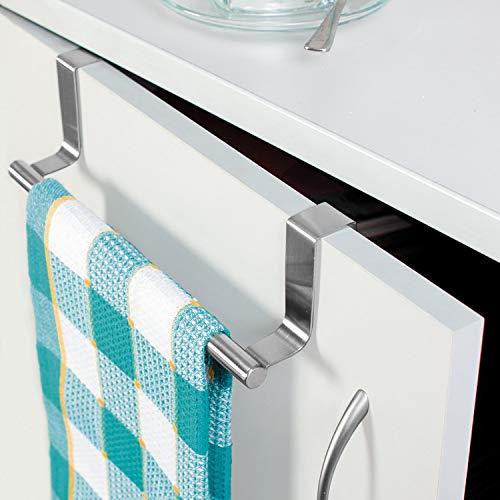 Tatkraft Horizon | 20115 | Türhandtuchhalter Küche, Geschirrtuchhalter | Gebürsteter Edelstahl, Silber| | 7.3x23CM