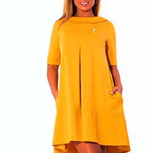 hippolo Damen Casual Plus Größe Damen Kleid mit Tasche gelb (Kleid Gelb Casual)