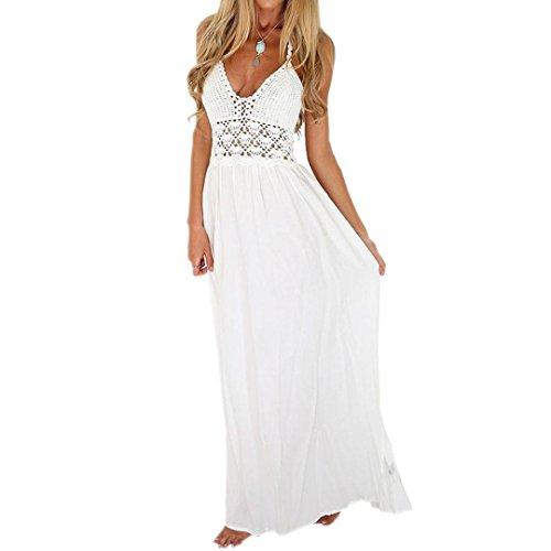LUCKDE Maxirock Boho, Strandkleider Damen Bohemian Dress Spitzenkleid Neckholder Kleid Ballkleider...