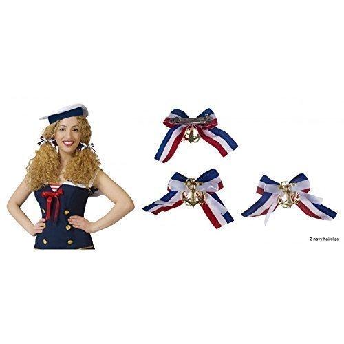 Haarclips / Haarschleifen / Hairclips Navy mit Anker und Schleife passend zum Marinekleid / Marinekostüm (Schleife Passend)