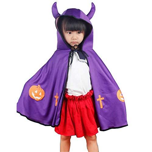 Kostüm Wilde Hexe Kind - Halloween Kostüm Requisiten Kinder Performance Kleidung Festival Performance Dämonen Hörner Mantel Mantel,Purple
