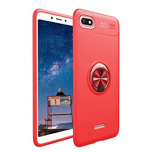 Cestor Bague Coque pour Xiaomi Redmi 6A,Créatif 360 Degrés Rotatif Anneau Kickstand Housse Compatible avec Magnétique Voiture Monture Antichoc Slim Fit TPU Stand Étui Coque pour Xiaomi Redmi 6A,Rouge