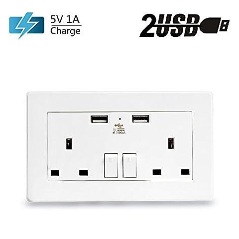 Senweit 1Pcs 2 Gang UK Mains Double Plug Socket with