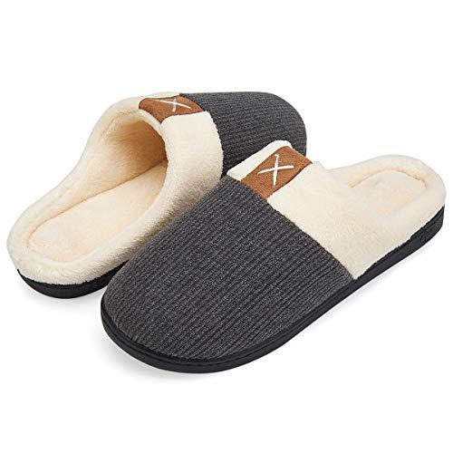 VIFUUR Männer Haus Hausschuhe High-Density-Memory-Foam Warm Indoor Anti-Skid Gummisohle Baumwolle Slip On Schuhe Grau 42/43 M