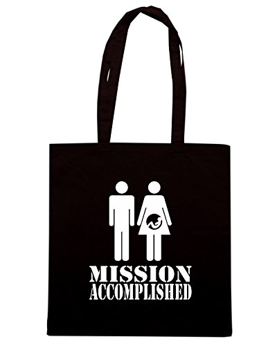 T-Shirtshock - Borsa Shopping T1042 Mission accomplished fun cool geek, Taglia Capacita 10 litri - T-shirt Mission Accomplished