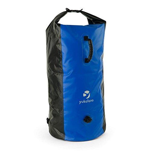 Yukatana Quintono 100 • Seesack • Packsack • Rollbeutel • Trekking-Rucksack • Travel-Reiserucksack • 100 Liter Fassungsvermögen • 2 Tragegurte • Henkel • Clip-Schnalle • blau-schwarz (Wasser-tasche)