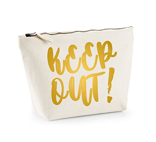 Keep Out - Fun Slogan, Make Up and Cosmetics Bag, Accessory Organiser Natural/Gold