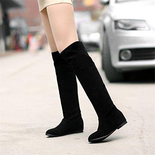 ZQ@QXregalo di Natale In Europa e negli Stati Uniti il codice con l'aumento in basso sopra il ginocchio Stivali Stivali Stivali Stivali black