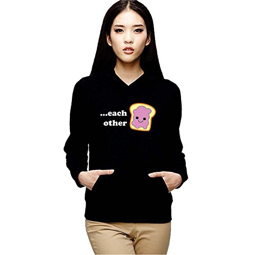YaYa cafe TYYC Made for Each Other Printed Women Hoodie with Kangaroo Pockets, Gifts for Women, Couple SweaTshirts, Gifts For Wife_Black_L