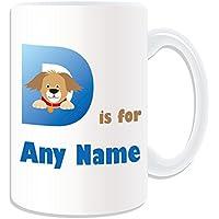 Regalo personalizzato–grande lettera D per tazza, motivo: alfabeto, bianco)–qualsiasi nome/messaggio
