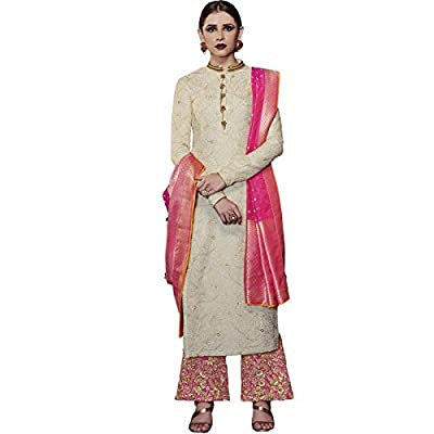 Impressed Collection White Tussar Silk Party Wear Salwar Kameez
