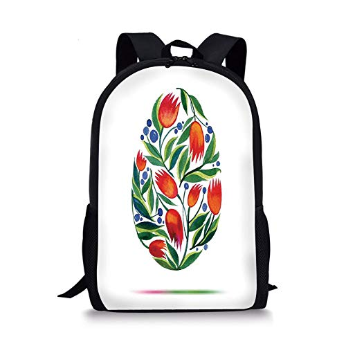 School Bags Watercolor Flower,Easter Egg with Tulip Flowers Paint in Retro Style Nostalgic Pastel Color,White Green Red for Boys&Girls Mens Sport Daypack -