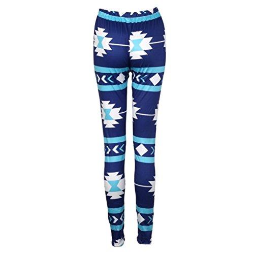 Fulltime® Femmes maigres imprimé géométrique extensible pantalon Leggings Bleu