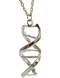 Doble Helix Science Molécula–Plateado–Collar DNA Bioquímica Molécula estructura química colgante en caja de regalo