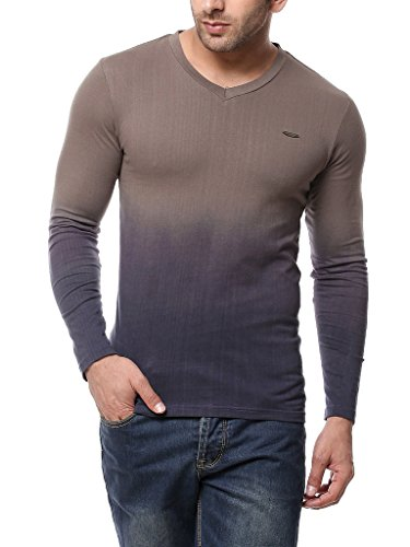 GRITSTONES Men's Steel Grey Full Sleeve V Neck T Shirt GSFSOMBVNECKSGRY_L