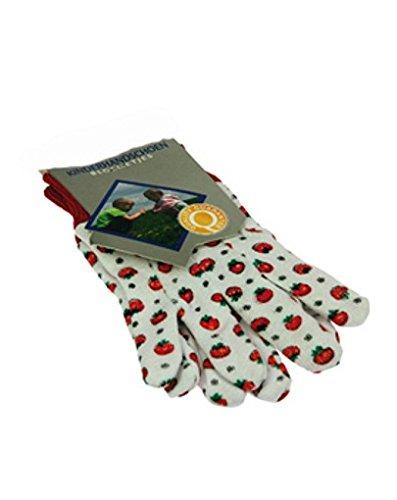 Gartenhandschuhe für Kinder / 1 Paar / Farbe: weiß/rot mit Tomaten-Aufdruck / Größe: 7,5' / Maß eines Handschuhs: ca. 18 x 9 cm / 3+